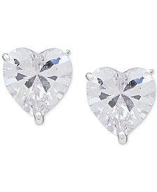 Anne Klein Silver-Tone Crystal Heart Stud Earrings