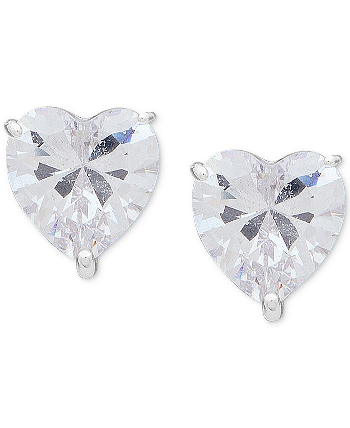 Anne Klein - Silver-Tone Crystal Heart Stud Earrings