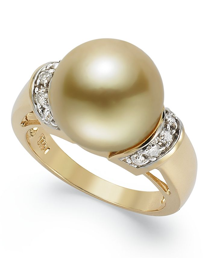 Macy's - 14k Gold Ring, Golden South Sea Pearl (12mm) and Diamond (1/4 ct. t.w.) Ring