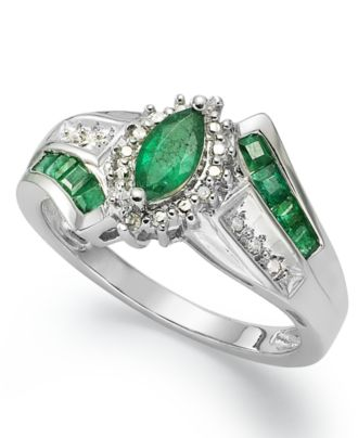 sterling silver ring marquise cut emerald 3 4 ct t w