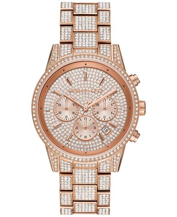 Michael Kors Women's Chronograph Ritz Rose Gold-Tone Stainless Steel Pavé Bracelet Watch 41mm