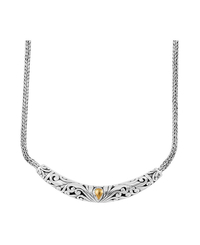 DEVATA - Bali Heritage Classic Necklace in Sterling Silver and 18k Yellow Gold Accents