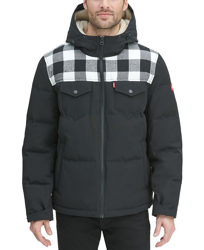 Levi's - Men's Quilted Mix-Media Puffer Jacket with Fleece-Lined Hood