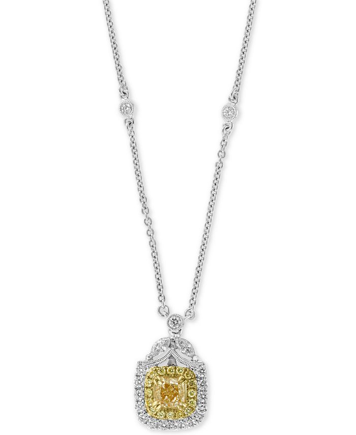 """EFFY Collection - Diamond Two-Tone Halo 18"""" Pendant Necklace (1-1/2 ct. t.w.) in 14k White Gold"""