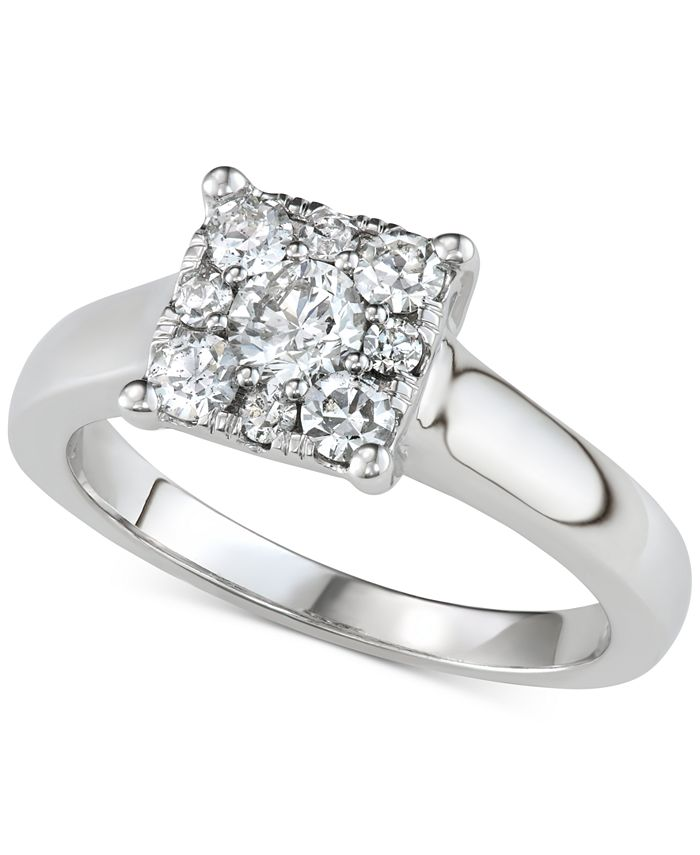 Macy's - Diamond Square Halo Engagement Ring (3/4 ct. t.w.) in 14k White Gold
