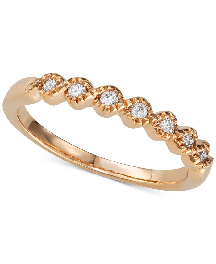 Macy's - Diamond Beaded Twist Band (1/8 ct. t.w.) in 14k Rose Gold