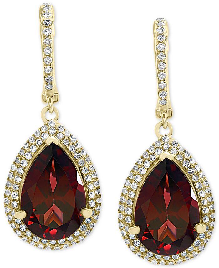 EFFY Collection - Rhodolite Garnet (7-1/3 ct. t.w.) & Diamond (1/2 ct. t.w.) Drop Earrings in 14k Gold