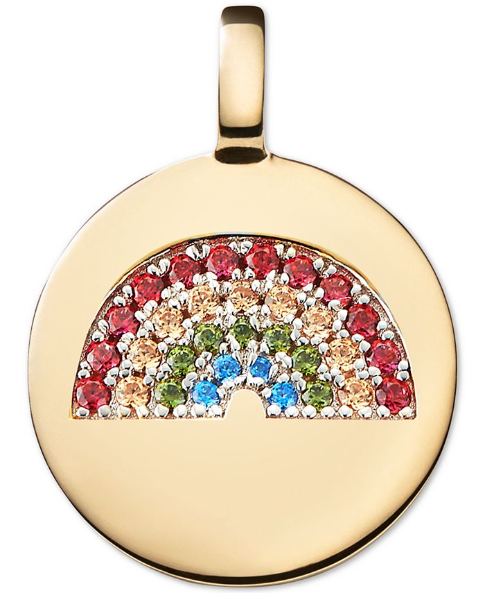 CHARMBAR - Swarovski Zirconia Reversible Rainbow Charm Pendant in 14k Gold-Plated Sterling Silver