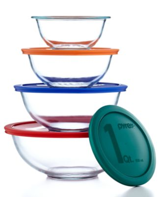 Pyrex 8 Piece Mixing Bowl Set with Colored Lids