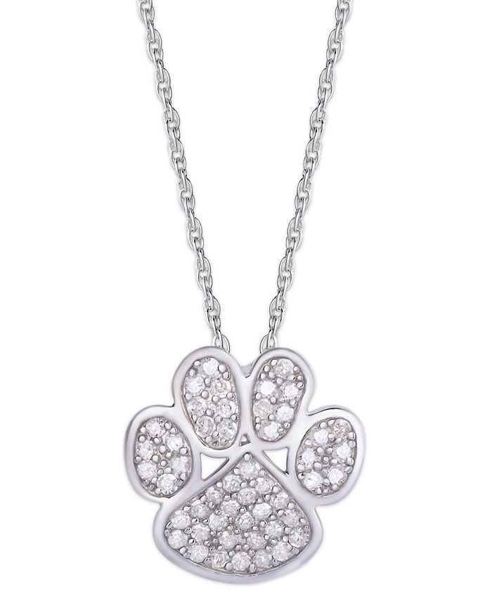 Macy's - Diamond 1/4 ct. t.w. Paw Print Pendant Necklace in Sterling Silver