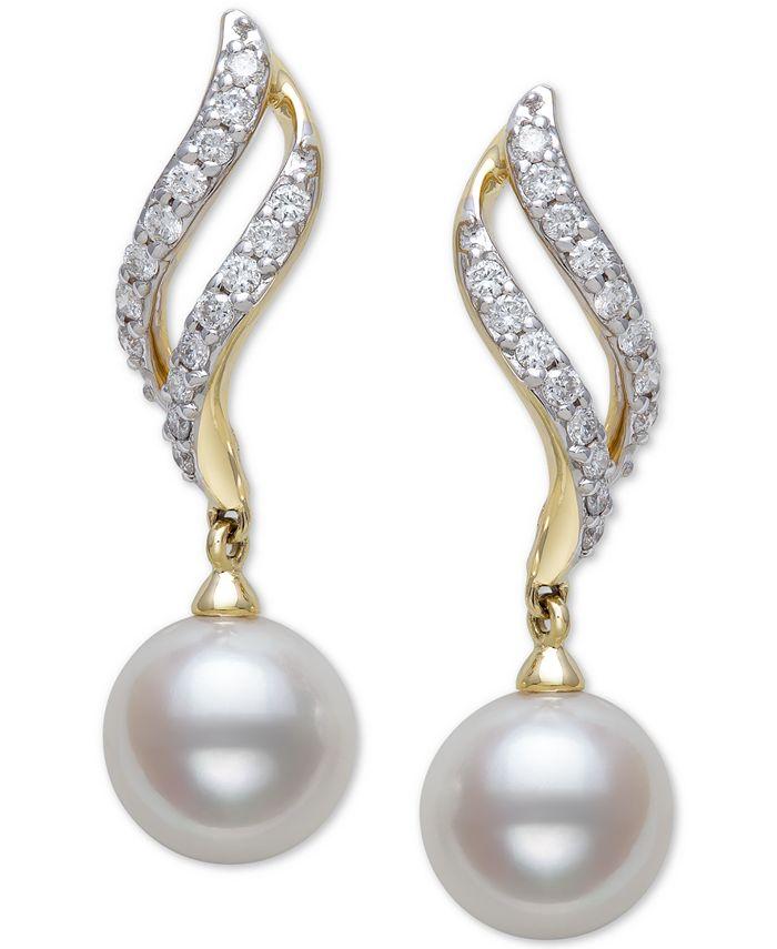 Belle de Mer - Cultured Freshwater Pearl (8mm) & Diamond (1/3 ct. t.w.) Drop Earrings in 14k Gold