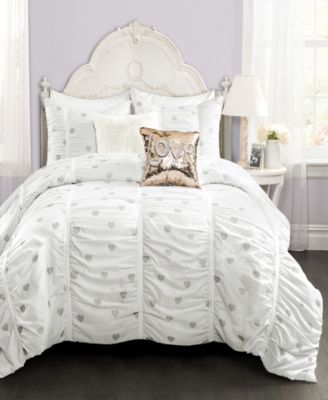 Metallic Heart Print 2-Piece Twin XL Comforter Set