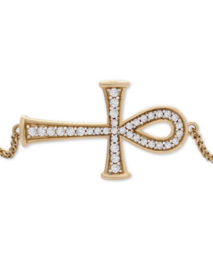 Wrapped Diamond Ankh Bolo Bracelet (1/4 ct. t.w.) in 14k Gold, Created for Macy's & Reviews - Bracelets - Jewelry & Watches - Macy's