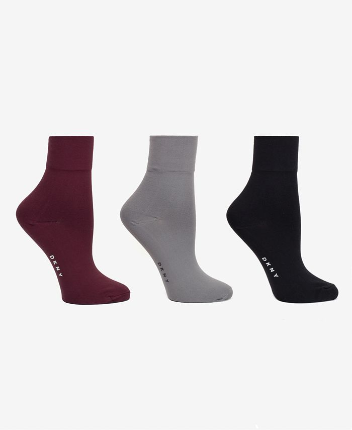 DKNY - Women's 3-Pk. Soft Microfiber Demi Crew Socks