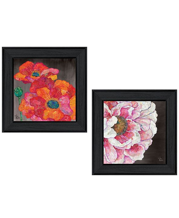 "Trendy Decor 4U Blooms on Black 2-Piece Vignette by Lisa Morales, Black Frame, 15"" x 15"""