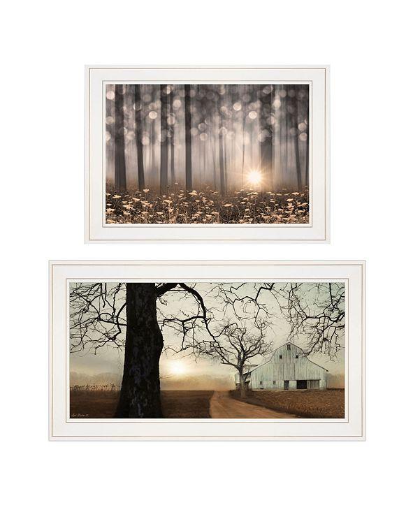 "Trendy Decor 4U Enchanted Sunrise 2-Piece Vignette by Lori Deiter, White Frame, 27"" x 15"""