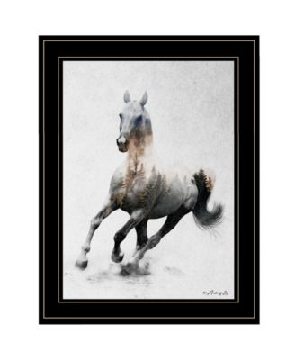 Galloping Stallion by andreas Lie, Ready to hang Framed Print, White Frame, 19