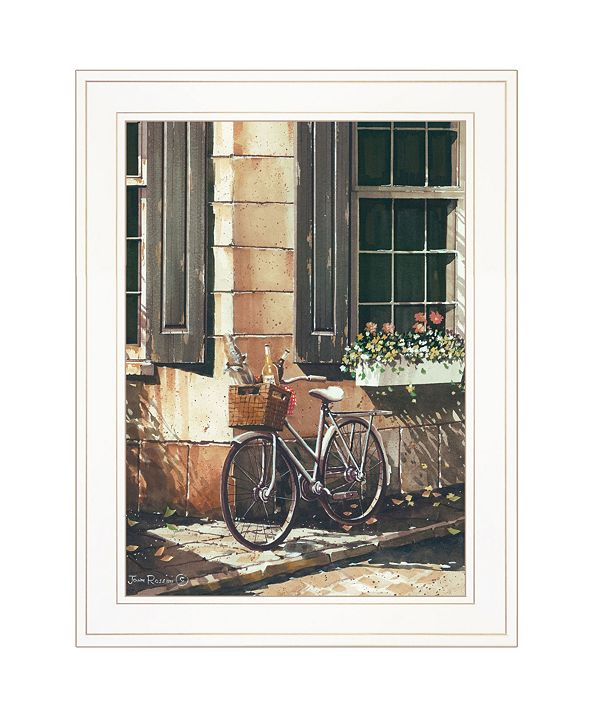 "Trendy Decor 4U Picnic Getaway by John Rossini, Ready to hang Framed Print, White Frame, 15"" x 19"""