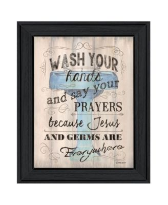 Bathroom Humor by Debbie DeWitt, Ready to hang Framed print, White Frame, 15