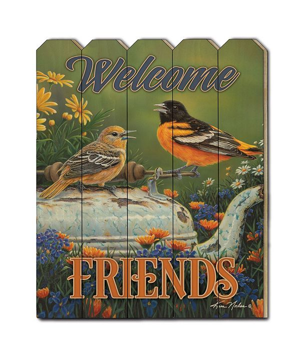 """Trendy Decor 4U Welcome Friends by Kim Norlien, Printed Wall Art on a Wood Picket Fence, 16"""" x 20"""""""