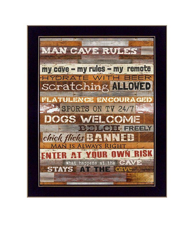 "Trendy Decor 4U Man Cave Rules By Marla Rae, Printed Wall Art, Ready to hang, Black Frame, 14"" x 18"""