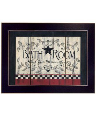 Bathroom by Linda Spivey, Ready to hang Framed Print, White Frame, 18