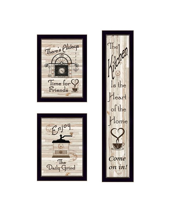 "Trendy Decor 4U The Kitchen Collection I 3-Piece Vignette by Millwork Engineering, Black Frame, 10"" x 32"""