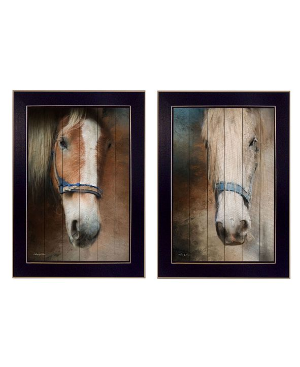 "Trendy Decor 4U Two Horses Collection By Robin-Lee Vieira, Printed Wall Art, Ready to hang, Black Frame, 14"" x 20"""