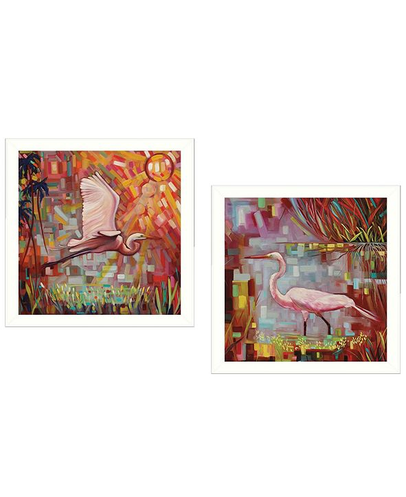 """Trendy Decor 4U Everglades Gliders Collection By Ed Wargo, Printed Wall Art, Ready to hang, White Frame, 14"""" x 14"""""""