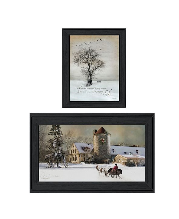 "Trendy Decor 4U Winter Harmony Vignette Collection By Robin-Lee Vieira, Printed Wall Art, Ready to hang, Black Frame, 48"" x 19"""