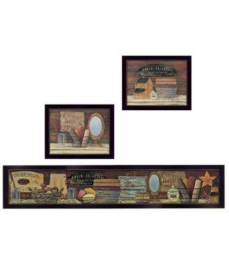 COUNTRY BATH II 3-Piece Vignette by Pam Britten, Black Frame, 39