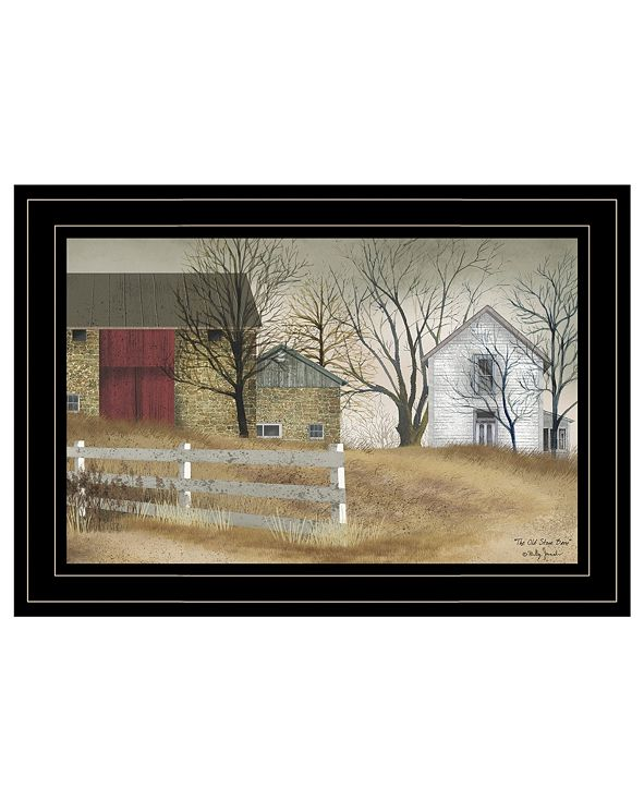 """Trendy Decor 4U The Old Stone Barn by Billy Jacobs, Ready to hang Framed Print, Black Frame, 15"""" x 11"""""""