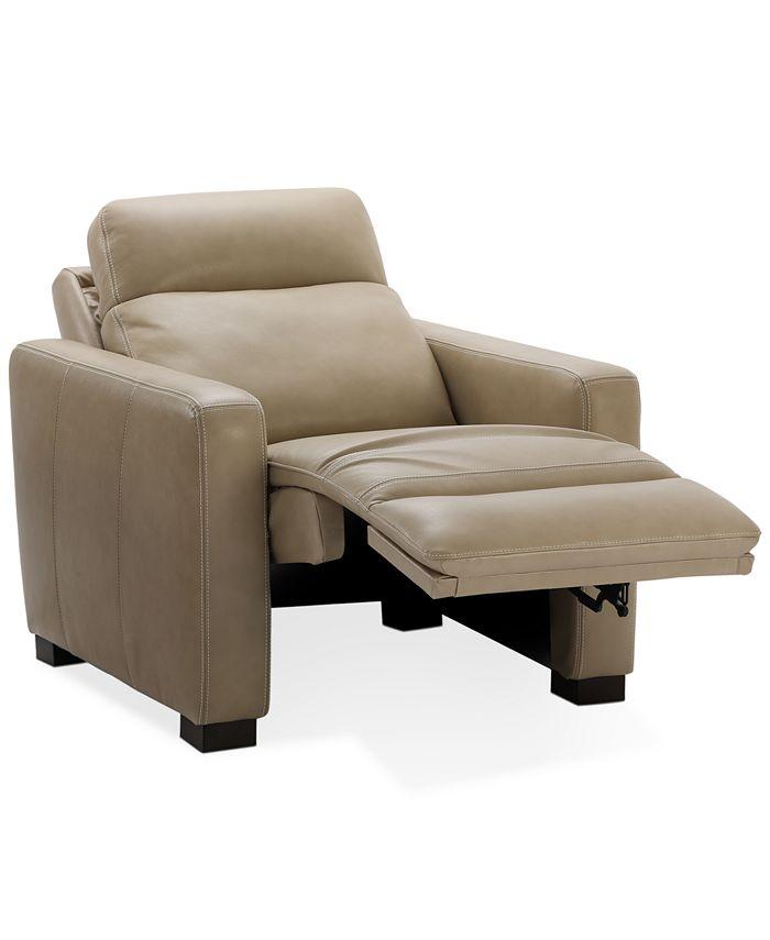 "Furniture - Hayvon 35"" Leather Dual Power Recliner"