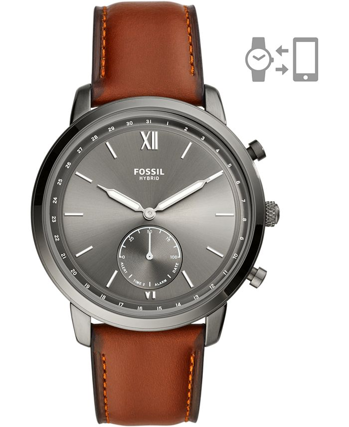 Fossil - Men's Neutra Brown Leather Strap Hybrid Smart Watch 44mm