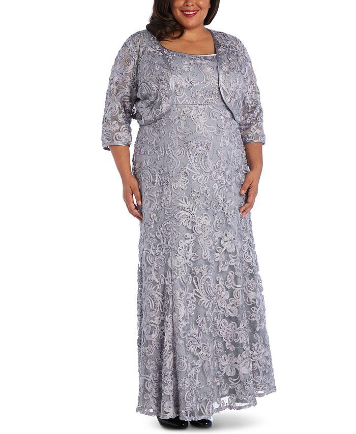 R & M Richards - Plus Size Soutache Gown & Jacket
