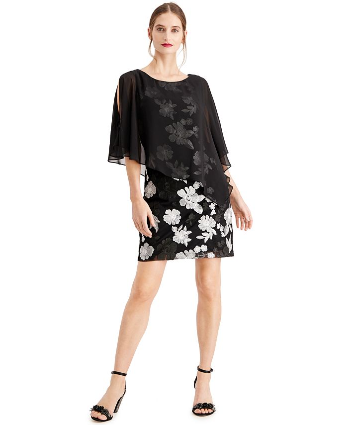 Connected - Petite Embroidered Chiffon-Capelet Dress