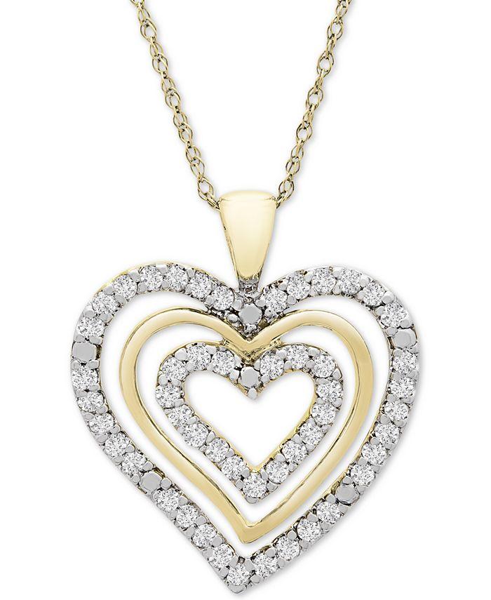 "Macy's - Diamond Multi-Heart 18"" Pendant Necklace (1/2 ct. t.w.) in 10k Gold"
