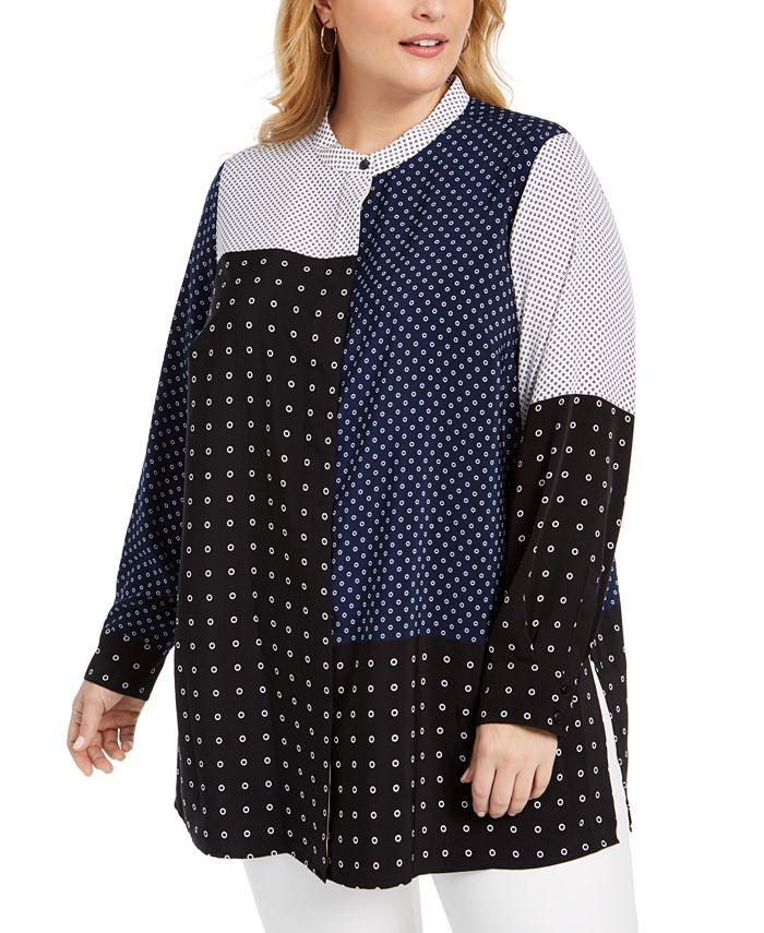 Alfani - Plus Size Mixed-Print Tunic Top