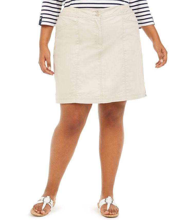 Karen Scott - Plus Size Knit-Waistband Skort