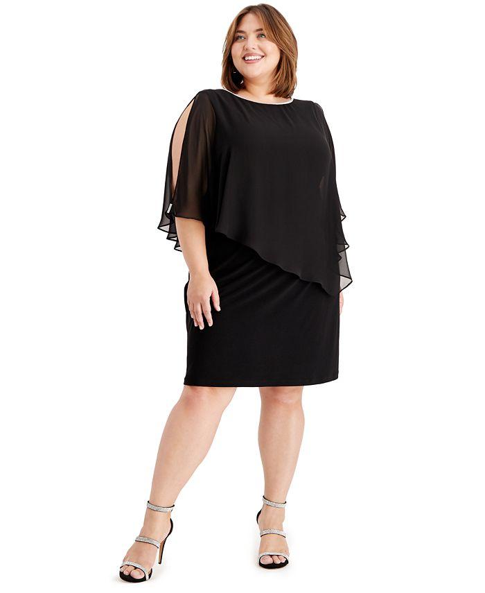 MSK - Plus Size Embellished Chiffon-Overlay Dress