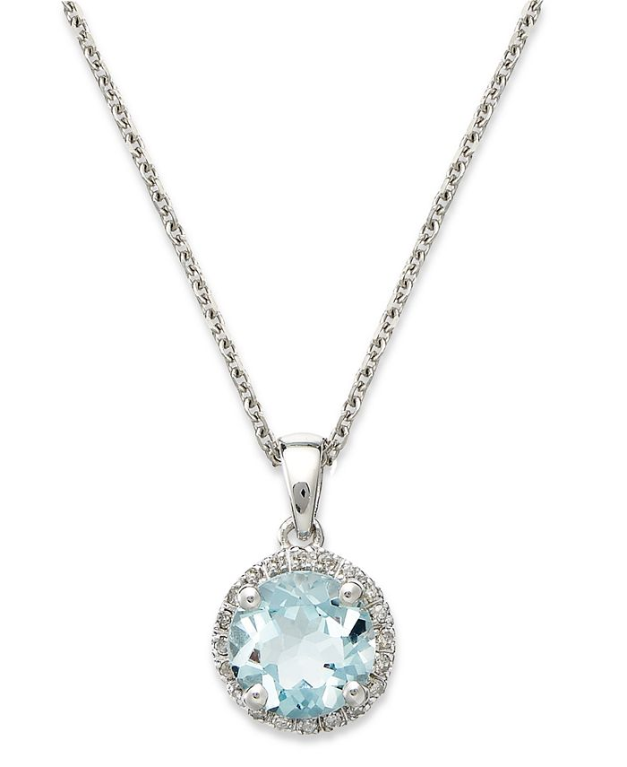 Macy's - 14k White Gold Necklace, Aquamarine (1 ct. t.w.) and Diamond Accent Pendant
