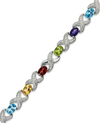 Amethyst (6-1/2 ct. t.w.) and Diamond Accent XO Bracelet in Sterling Silver