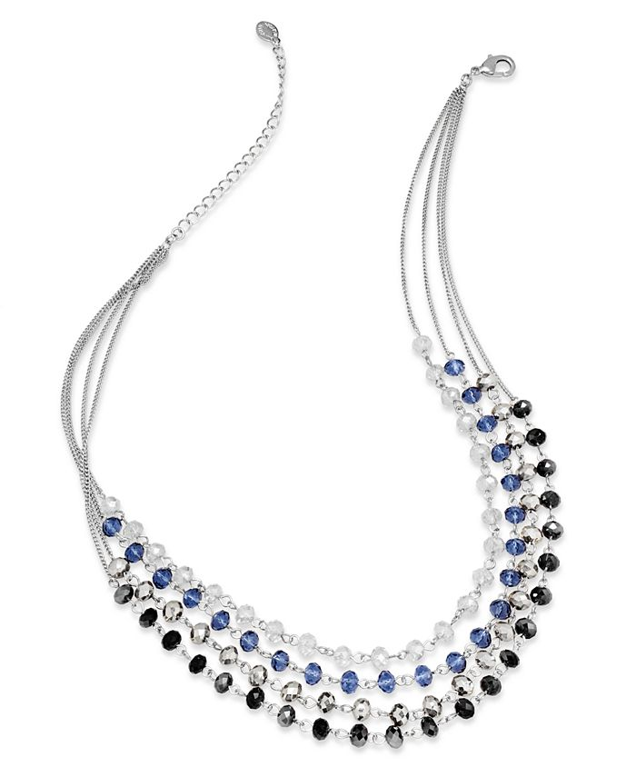 INC International Concepts - Necklace, Silver-Tone Multi-Color Bead Four-Row Necklace