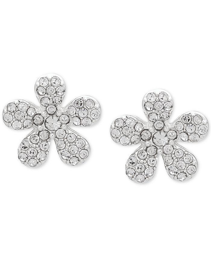Anne Klein - Silver-Tone Pavé Flower Button Earrings