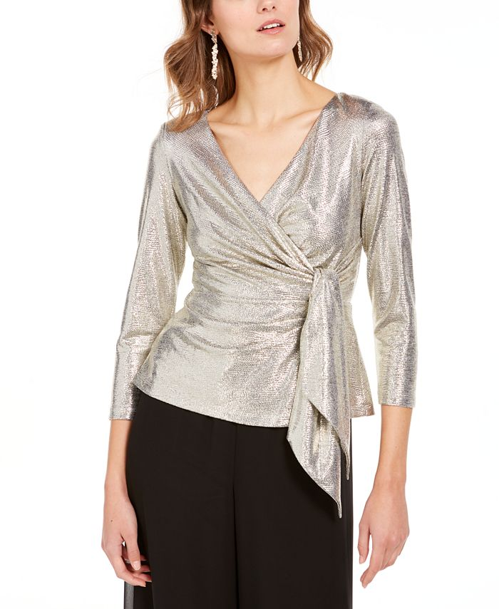 Adrianna Papell - Metallic Wrap Top