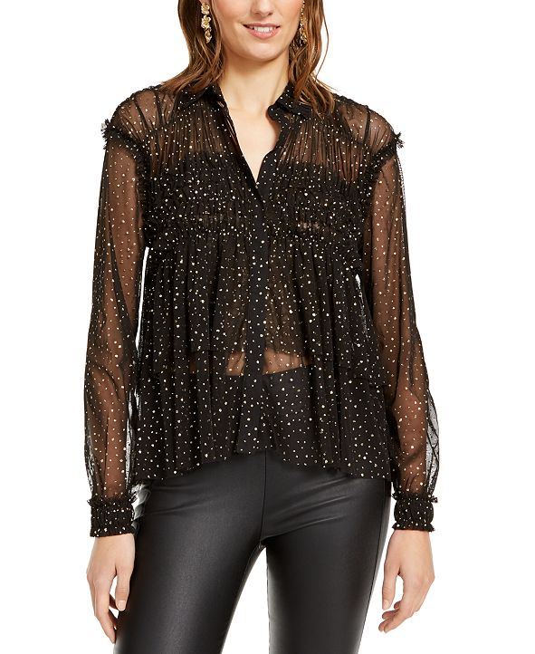 INC International Concepts INC Ruffled Sheer Top, Created for Macy's