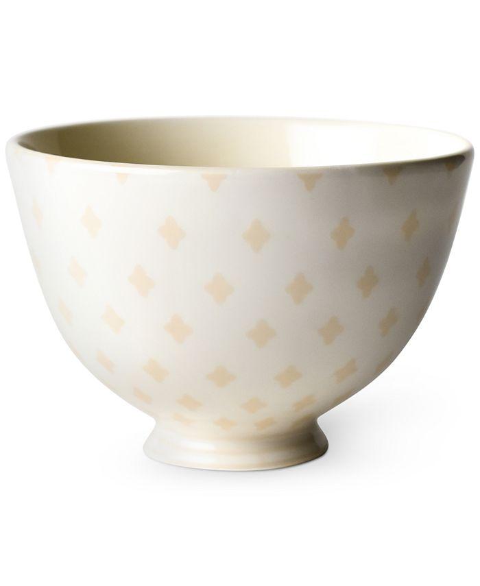 """Coton Colors - Ecru Quatrefoil 6"""" Footed Bowl"""