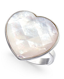 Mother-of-Pearl Heart Ring in Sterling Silver