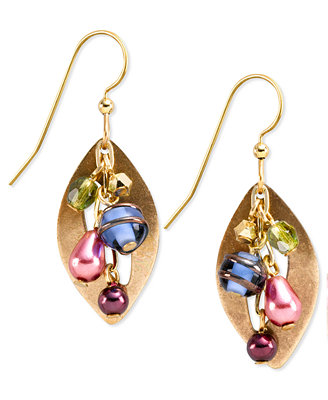 silver forest earrings gold tone multi color cascading