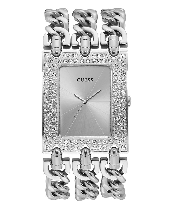 GUESS - Silver-Tone Stainless Steel Crystal Chain Watch